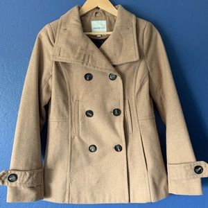 Thread & Supply Wool Blend Double-Breasted Peacoat